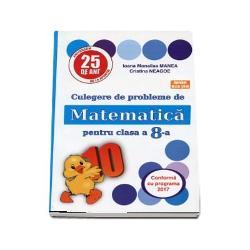 Culegerea cuprinde probleme si exercitii corespunzatoare programei scolare a clasei a 8-a prezentate in diferite grade de complexitate In functie de aceasta exercitiile si problemele au rezultate indicatii sau rezolvari integraleAdresandu-se tuturor categoriilor de elevi cartea poate fi folosita si in clasa si in pregatirea individuala ea devenind un instrument sigur pentru invatarea matematicii
