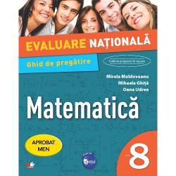 Setul con&539;ineGhidul de preg&259;tire pentru Evaluarea Na&539;ional&259;cuprinde- 35 de teste testele 1-8 con&539;in doar materia claselor a V-a – a VII-a &537;i testele 9-35 introductreptat materia clasei a VIII-a- Rezolv&259;rile testelor propuse- Breviar teoretic cuprinzând no&539;iunile de matematic&259; incluse în programa &537;colar&259;- Programa de examen pentru disciplina