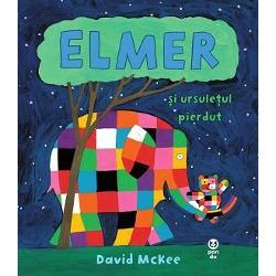 """Când Puiul-de-elefant î&537;i pierde ursule&355;ul de plu&537; Elmer îi vine în ajutor""""Cartea se num&259;r&259; pe bun&259; dreptate printre preferatele micu&355;ilor cu vârste între 2 &537;i 5 aniThe Sunday Times"""