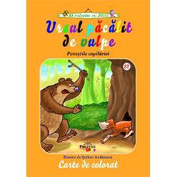 Cartea de colorat Ursul pacalit de vulpe dupa povestea scrisa de Ion Creanga are desene de mari dimensiuni cu contur gros si precis pentru a fi usor de coloratO ocupatie creativa si distractiva pentru cei mai mici este coloratul Lucrarea de fata cu siguranta ii va incanta pe copii si ii va tine ocupati in timpul liber De asemenea cu ajutorul cartilor de colorat copii pot invata mai usor si mai repede denumirile culorilor