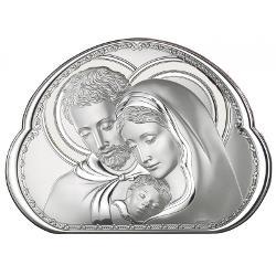 Icoana Sfanta Familie argintiu 9x6cm 8002-1