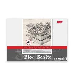 Bloc desen hartie alba 30 file 150 gmp legat cu spira coperta tare format A4Ideal pentru creion carbune creta cerata