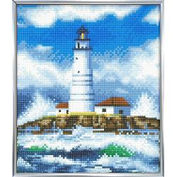 Set creativ crystal art in rama foto argintie the lighthouse 21x 25cm CAM-10