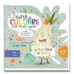 """Cartea de colorat cu rime """"Por&539;ia de culoare fructe &537;i legume"""" îi va încânta pe copiii cu vârsta între 3-5 ani &537;i îi va face s&259;-&537;i dea frâu liber imagina&539;iei &537;i laturii artistice Desenând aceast&259; carte împreun&259; cu eroul preferat Micul C&259;tel de Usturoi copiii se vor relaxa &537;i î&537;i vor dezvolta creativitatea &537;i concentrarea"""