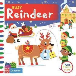 With lots to see in Busy Reindeer children can have fun pulling pushing and turning the mechanisms as they read about Ruby Reindeers Christmas journey Join Ruby Reindeer as she flies through the sky and helps Santa deliver Christmas presents Children will love playing with this bright and colourful board book with gentle rhyming text and wonderful illustrations by Samantha Meredith Discover more of the Busy Book series Busy Garage Busy Builders Busy Playtime Busy Beach Busy Garden