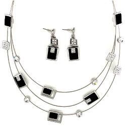 set colier & cercei rodiat negru mat cristale 42+7cm GA446 imagine librarie clb