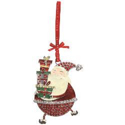 Decoratiune din metal sub forma unui Mos Craciun simpatic vesel colorata decorata cu cristale si glitterArticolul vine insotit de cutie de prezentare cu fundita decorativa si interior placut la atingereUn cadou elegant si pretios pentru un Craciun memorabil