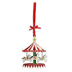 Decoratiune din metal sub forma unui carusel vesel colorata decorata cu cristale si glitterArticolul vine insotit de cutie de prezentare cu fundita decorativa si interior placut la atingereUn cadou elegant si pretios pentru un Craciun memorabil