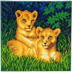 Set creativ tablou cu cristale,Lion Cubs 30x30cm CAK-A72
