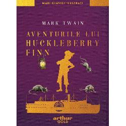 """Aventurile lui Huckleberry Finn unul dintre cele mai citite romane clasice din întreaga literatur&259; universal&259; e o poveste savuroas&259; construit&259; în jurul a trei b&259;ie&355;i curajo&351;i afla&355;i într-un t&259;râm magic – malurile fluviului MississippiHuck pu&351;tiul lipsit de educa&355;ie &351;i de maniere fuge din casa v&259;duvei Douglas sim&355;indu-se """"încol&355;it de"""
