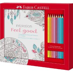 Set Cadou Feel Good 8 Creioane Colorate Grip + Carte Colorat Faber-Castell 201434