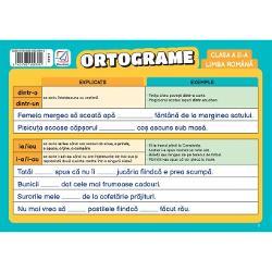 Pliantul con&539;ine explica&539;ii compara&539;ii &537;i exemple pentru cele mai întâlnite ortograme organizate încoloane &537;i eviden&539;iate prin culoriPliantul testeaz&259; capacitatea elevilor de a-&537;i însu&537;i eficient no&539;iunile dobândite în cadrul orelor delimba român&259; oferind exerci&539;ii pentru fiecare dintre ortogramele explicatePliantul este realizat dintr-un material