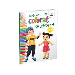 """""""Cartea de colorat cu ghicitori""""încurajeaz&259; copilul s&259; g&259;seasc&259; &537;i s&259; coloreze r&259;spunsul la o sumedenie de ghicitori simpaticeFormatul mare desenele cu contururi precise &537;i catrenele amuzante fac coloratul mult mai distractiv &537;i interesant"""