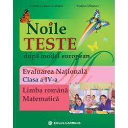 """Lucrarea """"Noile teste dup&259; model european – Evaluare na&355;ional&259;"""" se adreseaz&259; elevilor din clasa a IV-a &351;i vizeaz&259; evaluarea competen&355;elor de în&355;elegere a textului scris în limba român&259; &351;i evaluarea competen&355;elor la matematic&259; Cele 20 de teste au fost elaborate dup&259; modelul Ministerului Educa&355;iei Na&355;ionale în strict&259; concordan&355;&259; cu programele &351;colare"""
