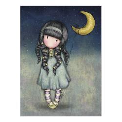 Felicitare Gorjuss MoonlightFelicitare Gorjuss Moonlight este un cadou absolut adorabil pentru persoanele dragi cu ocazia unei aniversari sarbatori sau chiar si si pentru alte ocazii Frumusetea aceste felicitari este data de cromatica si desing-ul extrem deelegant Little Wingseste o micuta fetita Gorjuss ce are stelute in par si iti aduce linistea serii Ea este inconjurata de luna si stele precum cerul noaptea Felicitarea este si mai frumoasa