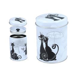 Cutie din metal pentru ceai Pisici negre 6,5x9cm 0072072 imagine librarie clb