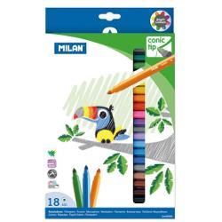 Carioca 18 culori v&226;rf conic Milan carioc&259; pe baz&259; de ap&259; v&226;rf conic;permite &537;i trasarea de linii groase;con&539;in o cantitate mare de cerneal&259;