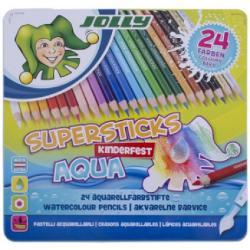 Creioane colorate acuarela JOLLY AQUA -cutie 24 culoriInclusiv auriu si argintiuSet de creioane colorate cu mina moale ce in contact cu apa devine acuarelaPrima data sa desenam cu creionul dupa care cu pensula umezita trecem peste desen si vom crea un efect de imagine in