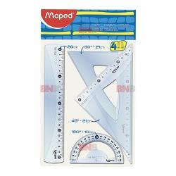 Trusa geometrie ce contine rigla 20 cm raportor 10 cm - 180° echer 21 cm - 60° echer 21 cm - 45°
