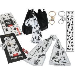 Esarfa accesoriu geanta pisici negre 18x90cm 0234060