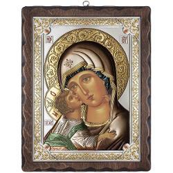 Icoana Argint Maica lui Vladimir 12x15cm ColorDimensiuni 12x15x2cm