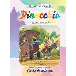 Carte de coloratCartea povesteste aventurile unui personaj numit Pinocchio o marioneta care a prins viata si ale saracului sau tata un tamplar pe nume Geppetto