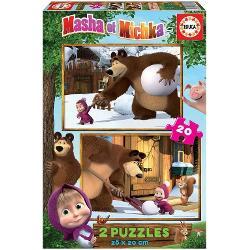 2 puzzle-uri a cate 20 piese fiecare Puzzle-urile asamblate au cate 28 x 20 cm Pentru varste intre 3 si 5 ani