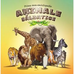 Prima mea enciclopedie Animale s&259;lbatice îi va introduce pe cei mici în lumea animalelor s&259;lbatice Vor descoperi care este sigura felin&259; care tr&259;ie&537;te în grupuri sociale care animal impresioneaza prin statura sa care e singurul animal care îndr&259;zne&537;te s&259; atace elefantul si multe multe altele Vocabularul de la final vine ca o completare a întregii enciclopedii &351;i explic&259; unele cuvinte întâlnite