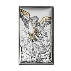 Icoana Argint Arhanghelul Mihail Auriu 12×20 cm