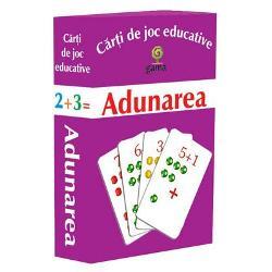 Pachetul con&539;ine·10 de carduricu numerele de la 1 la 10; ·40 de carduricu adun&259;ri care au ca rezultat numerele de la 1 la 10Scopul jocului este familiarizarea cu opera&539;ia de adunare &537;i rezolvarea de adun&259;ri simple