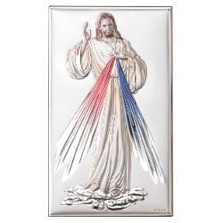 Icoana Argint Iisus-Milostivirea Divina Color 9×15 Cm
