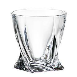 Set 6 pahare Whisky Quadro Bohemia 340ml din Sticla Cristalina cu Titanium