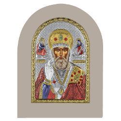 Icoana argint Sfantul Nicolae 10x14cm Auriu Color Rama Alba