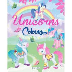 Carte de colorat Unicorns Colours - verde
