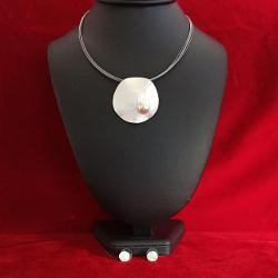 Set colier & cercei rodiat perla 427cm GA921