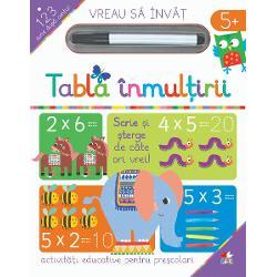 Aceast&259;&160;carte este o modalitate distractiv&259;&160;pentru copiii mici de a &238;nv&259;&539;a tabla &238;nmul&539;irii cu numerele de la 1 la 12 folosind imagini amuzante &537;i urm&259;rind&160;numerele&160;Paginile c&259;r&539;ii &238;&539;i permit s&259; scrii &537;i &537;tergi ori de c&226;te ori dore&537;ti&536;terge scrisul cu un &537;erve&539;el sau cu o c&226;rp&259;
