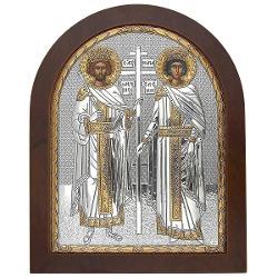 Icoana de Argint Sfintii Imparati Constantin si ElenaEste ambalata intr-o cutie de cadouFabricata si binecuvantata in Grecia