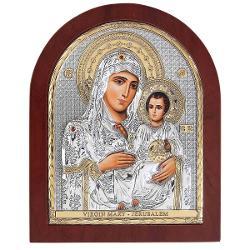 Maica Domnului de la Ierusalim Icoana Argint 11x13cmIcoana a fost binecuvantata in GreciaFabricata in Grecia