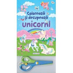 Coloreaza cum doresti tu unicornii din cele 12 pagini ale acestui bloc si apoi decupeaza-i cu ajutorul foarfecei incluse