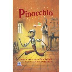 """adaptare dup&259; Carlo Collodi """"Numai b&259;ie&355;ii cumin&355;i au &351;ansa s&259; devin&259; b&259;ie&355;i adev&259;ra&355;i"""" avertizeaz&259; greierul cel în&355;elept Dar oricât ar încerca Pinocchio nu se poate &355;ine departe de belele Vân&259;tori de comori prieteni necinsti&355;i &351;i bâlciuri toate îl îndep&259;rteaz&259; de bietul singuraticul s&259;u tat&259;"""