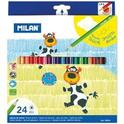 Creion color 24 culori Milan; nu con&539;in lemn din p&259;durile tropicale;24 culori corp hexagonal