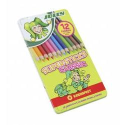 Creioane colorate Jolly- set 12 culori ambalate in cutie metalicaFabricat in Gemania