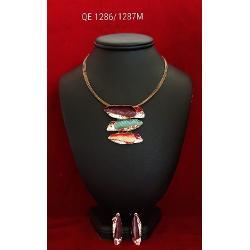 Set de colier si cercei zamac aurit aur roz 42 7cm qe1286 1287