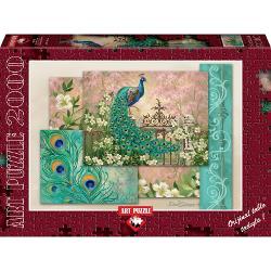 Puzzle 2000 piese - Jewel Of The Garden - DONA GELSINGERO pictura superba transpusa intr-o imagine minunata ce il va incanta pe orice iubitor de puzzle -&160;paunul&160;ce isi prezinta coada mirifica inconjurat de flori - un tablou extraordinarDimensiune cutie  435x30x6 cmDimensiune puzzle  96x68 cm