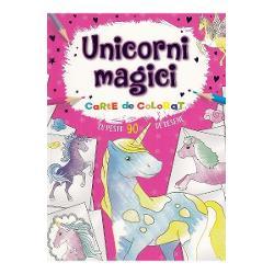 Unicorni magici Carte de colorat cu peste 90 de deseneDescoperiti lumea unicornilor magici Cu peste 90 de desene minunate de colorat - unicorni curcubee si multe altele Pe locuri fiti gata coloratiCartea contine ilustratii simple de mari dimensiuni cu contur gros si precis pentru a-i ajuta pe micii artisti la colorat