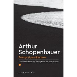 """Traducere &537;i note de Vladimir LazurcaVolumul de fa&539;&259; este primul din cele &537;ase care urmeaz&259; s&259; apar&259; sub titlulParerga &537;i paralipomena ultima carte publicat&259; de """"în&539;eleptul mizantrop din Frankfurt"""" Schopenhauer a dorit la maturitate s&259; întregeasc&259; cu o suit&259; de ad&259;ugiriLumea ca voin&539;&259; &537;i reprezentare R&259;fuiala cu"""