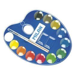 Acuarele palet&259; 12 culori 25 mm Milan; 12 pastile compacte cu con&539;inut ridicat de pigment;diametrul pastilei 25 mm;cutia con&539;ine pensul&259; seria 101;carcas&259; oval&259; din plastic
