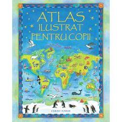 Acest atlas cu ilustra&355;ii superbe are calitatea unic&259; de a-i purta pe copii într-o c&259;l&259;torie magic&259; în jurul lumiiAtlasul este structurat în dou&259; p&259;r&355;i prima prezentând cele mai interesante informa&355;ii despre oameni locuri plante &351;i animale iar cea de-a doua o mul&355;ime