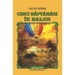 Un roman-enciclopedieLucian PricopUnul dintre primele romane ale lui Jules Verne Cinci saptamani in balon a fost o reusita comerciala inca din primele zile de la editia princeps cea in format mic din ianuarie 1863 Cartea in format mare in-8 octavo a fost pusa in vanzare pe 5 decembrie 1865 bucurandu-se de o primire publica entuziasta Este primul roman in care Jules Verne mixeaza ingredientele fictionale care l-au facut repede celebru povestiri pline de