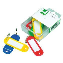 Breloc pentru chei-set 6 bucati   -cu etichet&259; de descriere &537;i un inel cu un diametru de 15 mm  -dimensiune 58x22mm  -6 buc în unit&259;&539;i de vânzare  -culori asortate